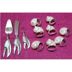 Qty 8 Natural Nautilus Shell Napkin Holders, Lobster Claw Knife, Spatula, Corkscrew