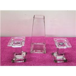 "Tapered 11"" Glass Vase & Pair of Glass Pillar Pedestal Candle Holders"