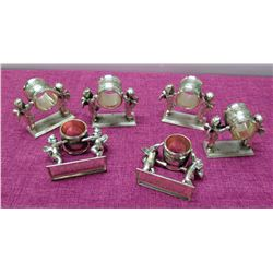 Qty 6 Silver-Tone Metal Cupid Napkin Rings