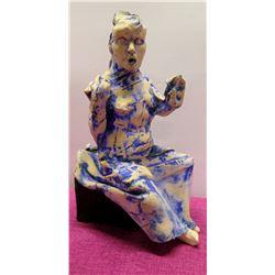 "Blue-Wash Clay Embellished Metal Statue 16"" Woman Sitting on Black Base"