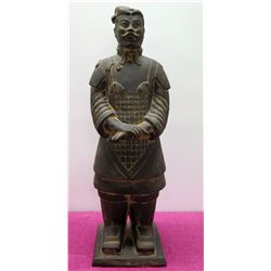 "Cast Metal Chinese Soldier Warrior Guard 40"" Tall Statue"