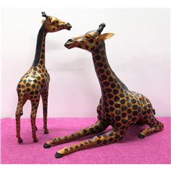 "Qty 2 Mother & Baby Giraffes 17"" L x 18"" H, Wrapped Painted Overlay"