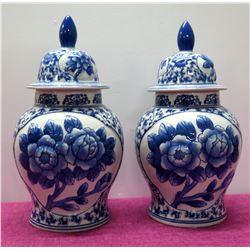 """Qty 2 Oriental Glazed Lidded Ginger Jars, Blue & White Floral 16"""" H"""