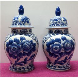 "Qty 2 Oriental Glazed Lidded Ginger Jars, Blue & White Floral 16"" H"