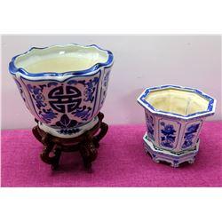 "Qty 2 Glazed Blue White Ceramic Oriental Planters w/ Base (12"" Tall on Wood Stand)"