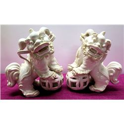 "Pair of Glazed White Porcelain Foo Dog Chinese Guardian Lions 15"" Tall"