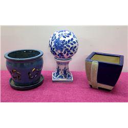 Qty 2 Glazed Ceramic Planters & 1-Piece Blue & White Ball Accent Décor