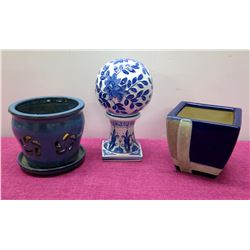 Qty 2 Glazed Ceramic Planters & 1-Piece Blue & White Ball Accent Décor