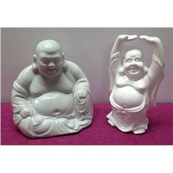 Qty 2 Glazed Ceramic Buddhas - 1 Seated, 1 Arms Extended 13  H