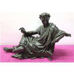 "Cast Dark Metal Caesar Figurine w/ Laurel Wreath, 12"" Tall"
