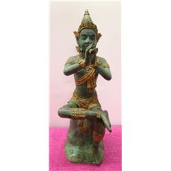 "Thai Siam Seated Buddha Playing Horn 20"" H, Cement-Filled Brass"