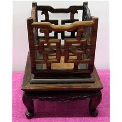 """Qty 2 Wooden Stands (each approx. 5.5"""" H)"""