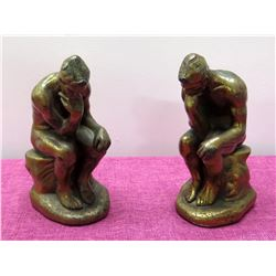 """Qty 2 Bookends """"The Thinker"""" Mixed Metal Statues, 9"""" Tall"""
