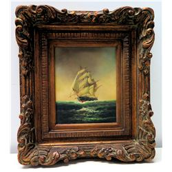 """Framed Original Painting on Canvas - Clipper Ship, Signed by R. Martin 15"""" x 18"""""""