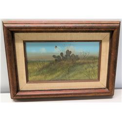 """Framed Original Painting - Cactus & Butterfly, Signed by Raul Gutierrez w/ Bio 21"""" x 15"""""""