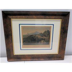 """Framed Original Painting - Stuttgard Mountainscape, Ansicht Des Aetna Von Taormina 18"""" x 15"""""""