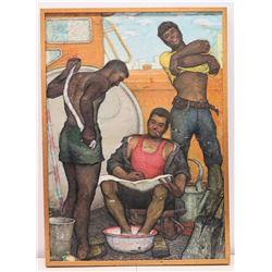 Framed Original Painting on Canvas - 3 Men Washing, Stamped Fredriv 42 (some crackling on surface) 1