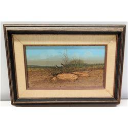 """Framed Original Painting - Desertscape w/ Birds, Signed by Raul Gutierrez w/ Bio 21"""" x 15"""""""