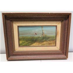 "Framed Original Painting - Red Cardinal, Signed by Raul Gutierrez w/ Bio 23"" x 17"""
