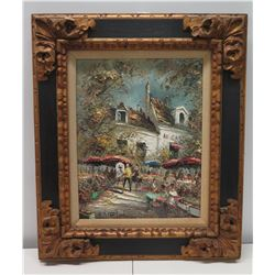 "Framed Original Painting on Canvas, Impasto - Paris Le Cadet De Forcoque 1972, Signed by Artist 21"""