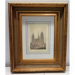 """""""France en Miniature"""" Rouen Cathedral, Signed by Artist 19"""" x 24"""", Matted w/ Gilt Frame"""