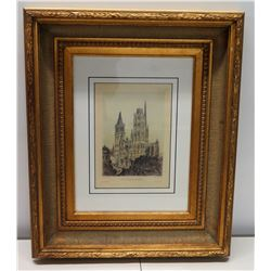 """Cathedrale Vue D'ensemble, Signed by Artist 19"""" x 24"""", Matted w/ Gilt Frame"""