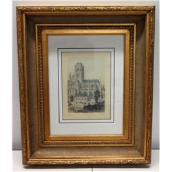 """""""France in Miniature"""" Se Ouen Signed by Artist 19"""" x 24"""", Matted w/ Gilt Frame"""