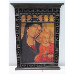 "Mother & Child Reproduction Renaissance Art w/ Gothic Frame 18"" x 26"""
