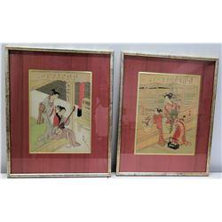"""Qty 2 Framed Oriental Watercolor Art, Marks Takamizawa 13"""" x 17"""""""