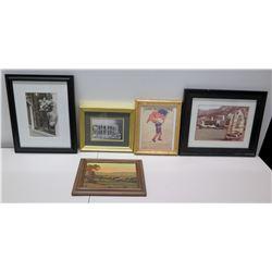 Qty 5 Misc Framed Photographic Art, etc - Eleanor Hallowell Abbott Flag Boy, etc.