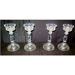 """Qty 4 Cut Glass Pedestal Candle Holders w/ Scalloped Edges 11"""" High"""