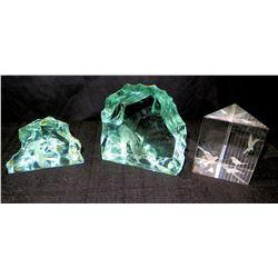 Qty 2 Decorative Cut Glass & Triangular Glass Hologram w/ Birds