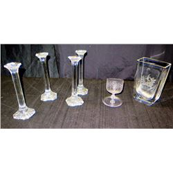 Qty 4 Glass Pillar Candleholders, Footed Etched Cup & Square Etched Vase
