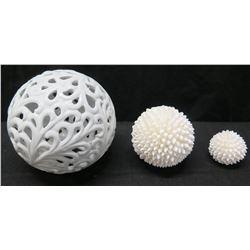 White Cutout Porcelain Ball & 2 Small Shell-Covered Balls