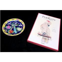 "Vintage Painted Cobalt Peafowl Plate & ""The Parrots, Complete Plates"" by Taschen"