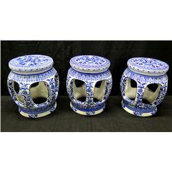 "Qty 3 Blue & White Glazed Porcelain Garden Stools 12"" Dia x 15"" Tall"