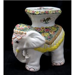 """Glazed Ceramic Elephant Stand 18"""" H, White w/ Floral Accent"""