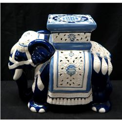 """Glazed CeramicElephant Stand, White & Blue w/ Cut Out Accent 18"""" High"""