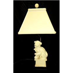 "White Ceramic Foo Dog Chinese Lion Table Lamp w/ Shade 28"" H"