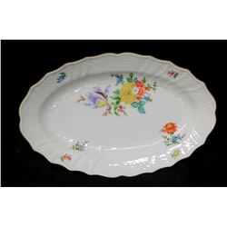 "Oval Floral Porcelain Plate 15"", 1814 Hutschenreuther Dresden Germany"