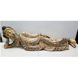 """Large Thai Siam Reclining Buddha, Whitewash & Gold-Painted Accent 57"""" Long"""