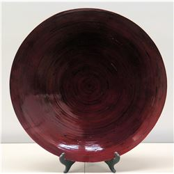 "Large Round Decorative Red Lacquered Bamboo Platter 26"", Pier 1 Imports Retail $100"