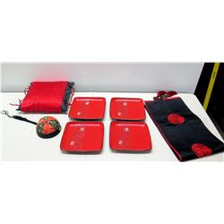 Qty 4 Red Lacquered Square Plates, Black & Red Oriental Table Runner, Pincushion, etc