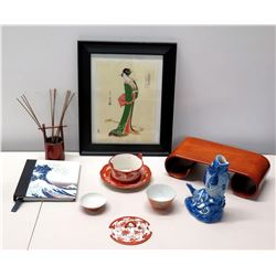 Black Framed Geisha Girl Woodblock Print  & Asian Tea Cups, Blue Fish Vase, Stand, etc