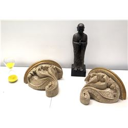 Qty 2 Curved Wall-Mount Shelves, Hourglass Sand Timer & Asian Praying Figure