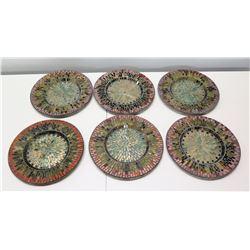 "Qty 6 Decorative Multi-Colored Mossaic Plates 12"" Dia."
