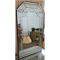 "Tall Italian Wall Mirror w/ Etched Accents 24"" x 43.5"""