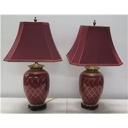 Qty 2 Burgundy Table Lamps w/ Gilt Accents & Matching Lamp Shades