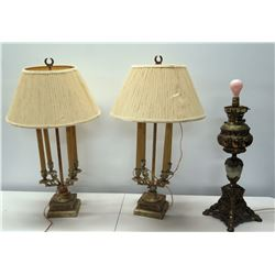 Qty 2 Gilt Column Table Lamps w/ Leaf Design & Lamp w/ No Shade