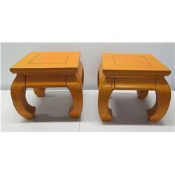"Qty 2 Lacquered Square Wood End Tables 16""W, 15"" Tall"